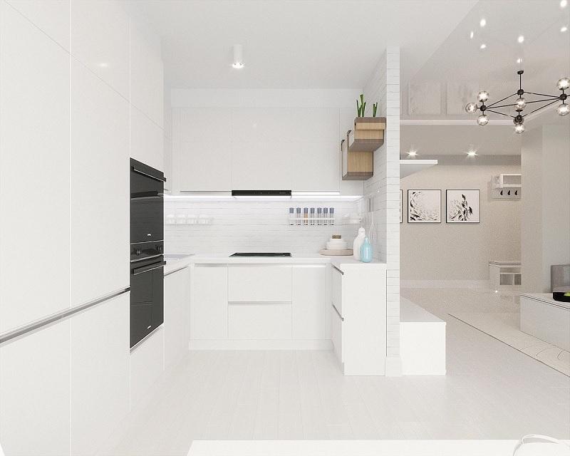 Mẫu thiết kế nhà bếp với gam màu trắng tinh khiết
