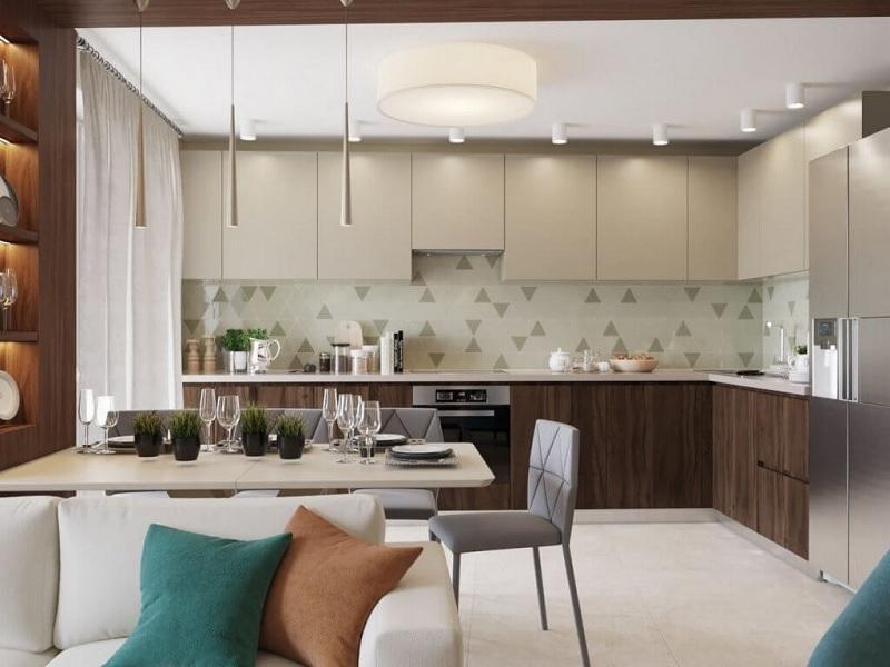 Mẫu thiết kế nhà bếp với gam màu be hiện đại