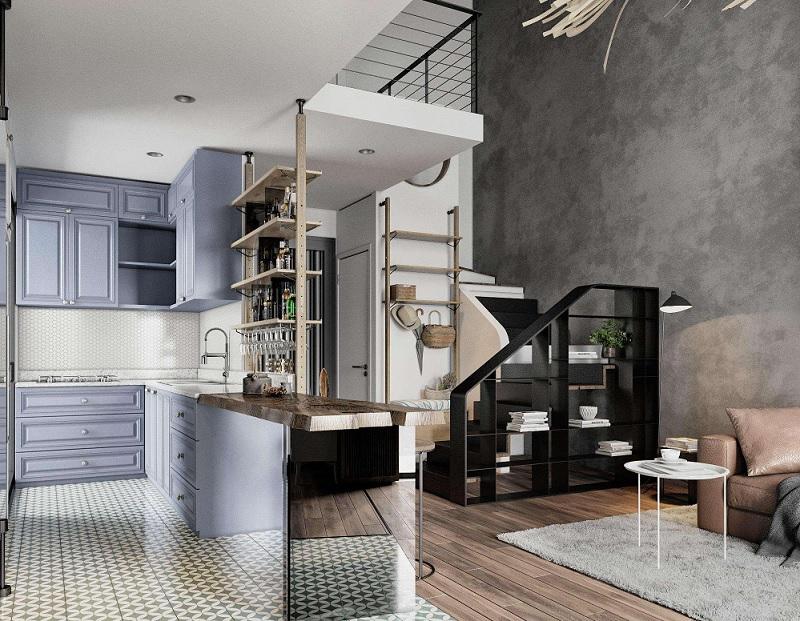 Thiết kế phòng bếp và phòng khách chung, chia cắt hai không gian với sàn bếp tạo ảo giác