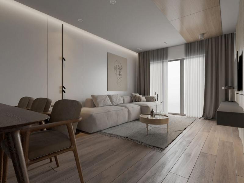 Mẫu Decor phòng khách dưới đây được bài trí không cầu kì. Bằng việc lựa chọn các gam màu trung tính, không quá sáng cũng không quá u tối.