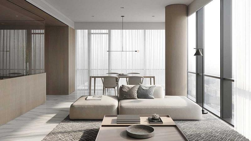 Để giúp cho không gian bớt trở nên thô cứng với các đường nét. Thì EDEN khuyên bạn nên lựa chọn một chiếc sofa mềm mại với đường cong mềm mại.