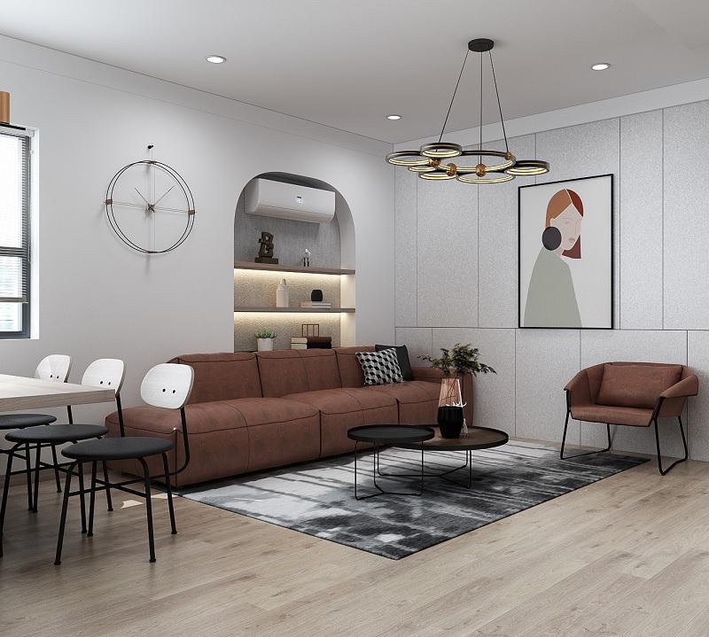 Bạn có thể mạnh rạn lựa chọn những mẫu thiết kế decor phòng khách hướng hiện đại. Nhưng để tại ra những nét nhẹ nhàng, mềm mại thì không thể thiếu đi những nét cong, nét tròn