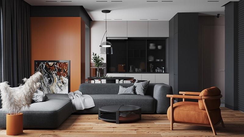 Mẫu phòng khách hiện đại với sự tương phản cao. Không gian nhấn mạnh vào hai gam màu đen và nâu để tạo nên sự sang trọng, quý phái
