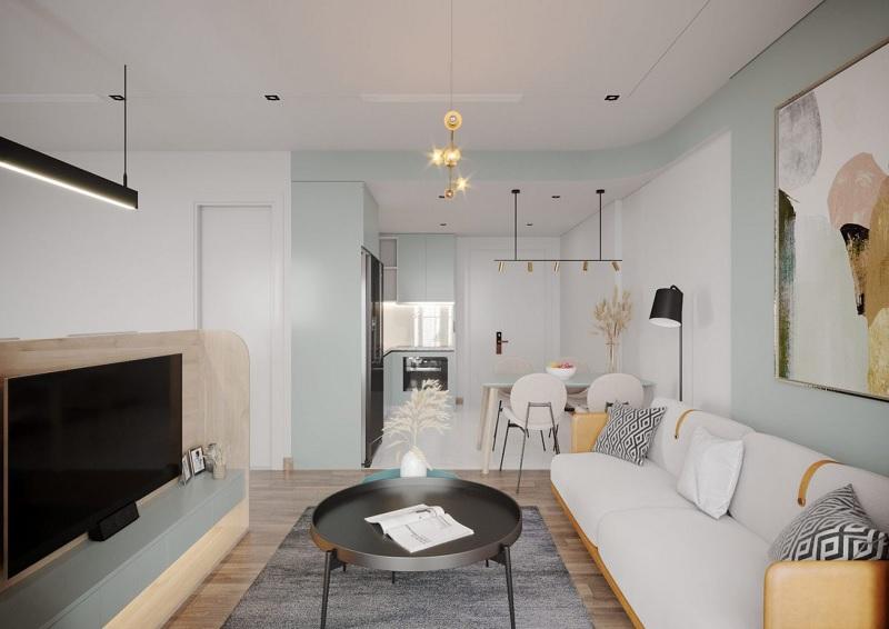 Mẫu phòng khách tối giản, nhẹ nhàng với gam màu pastel nhẹ nhàng.