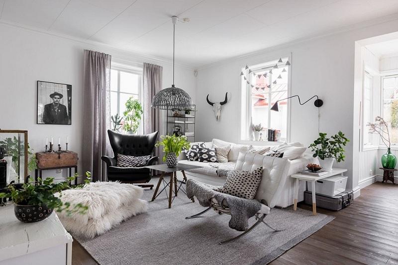 Mẫu phòng khách mộc mạc theo lối Scandivinian nổi bật với tông đen, trắng