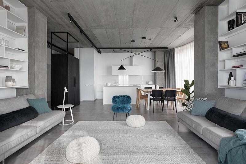Mẫu phòng khách tối giản, tương phản với hai màu đen trắng