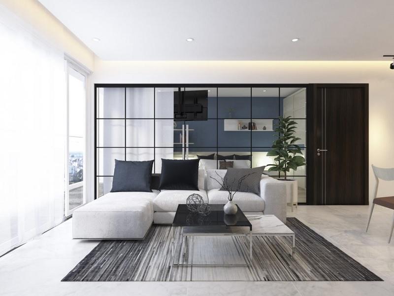 Decor phòng khách chung cư với vách ngăn kính