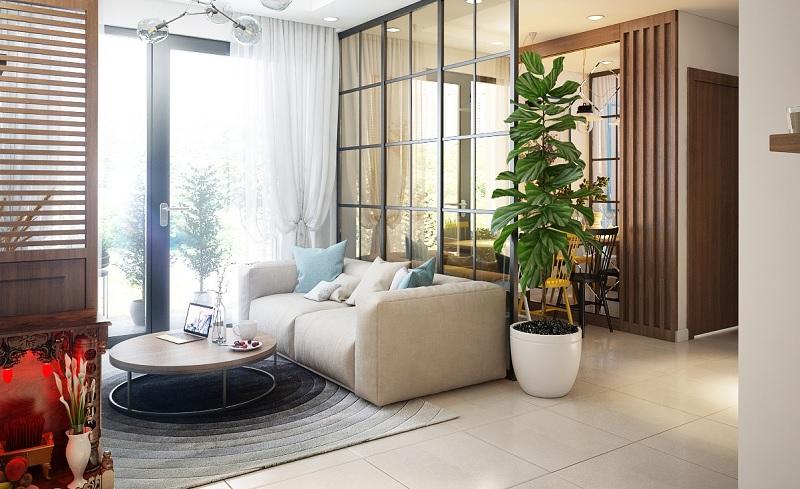 Mẫu phòng khách mở, thay thế những bức tường bê tông thành những tấm kính chắc chắn