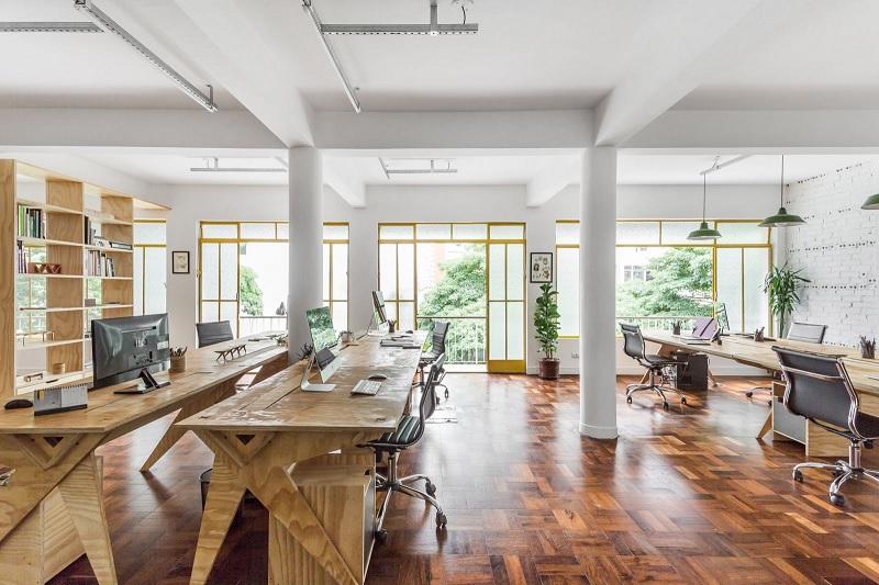 Bàn làm việc gỗ ván ép plywood cho văn phòng