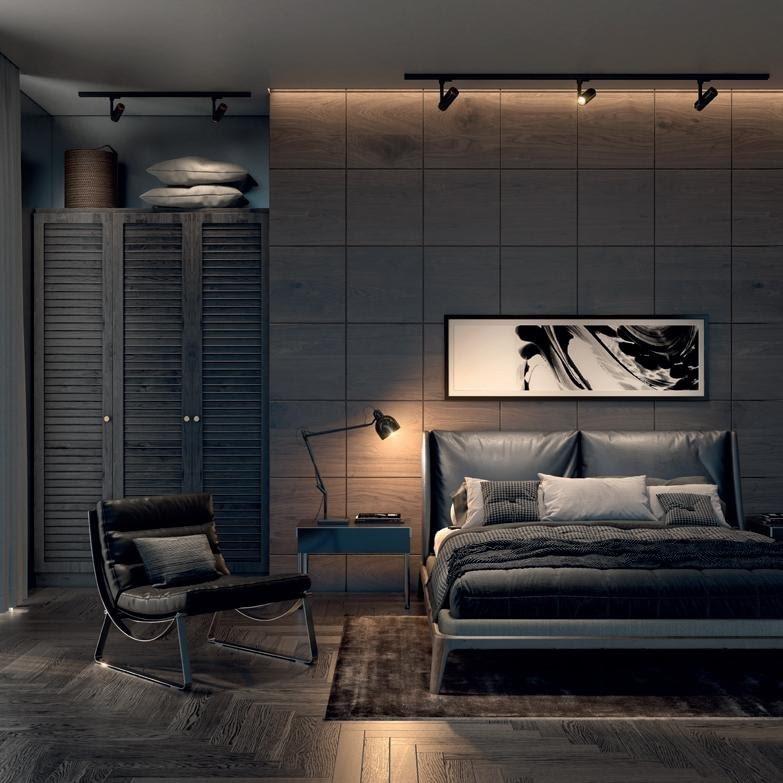 Phòng ngủ với giường gỗ ván ép mạnh mẽ, sang trọng