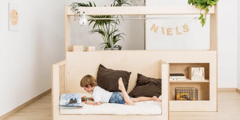 Giường ngủ gỗ ván ép plywood cho bé