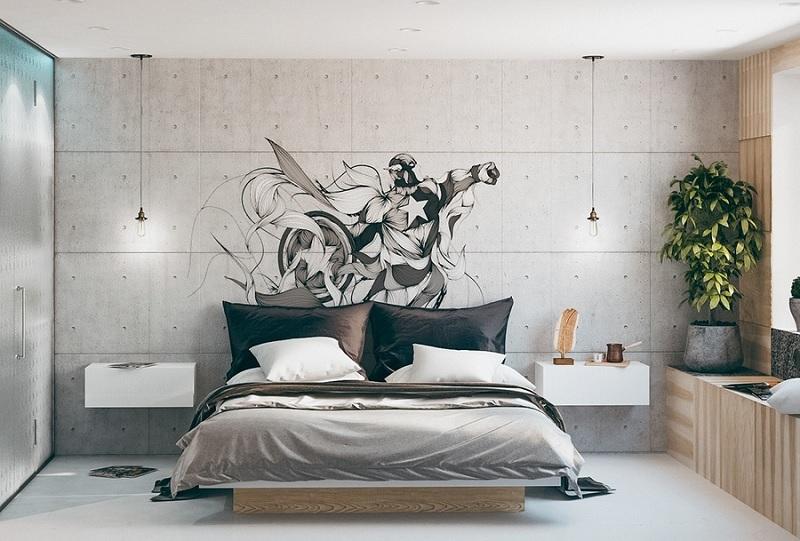 Mẫu phòng ngủ hiện đại đậm chất cá tính, mạnh mẽ