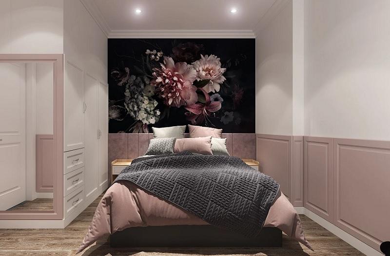 Mẫu phòng ngủ với bức tranh mẫu đơn quyến rũ