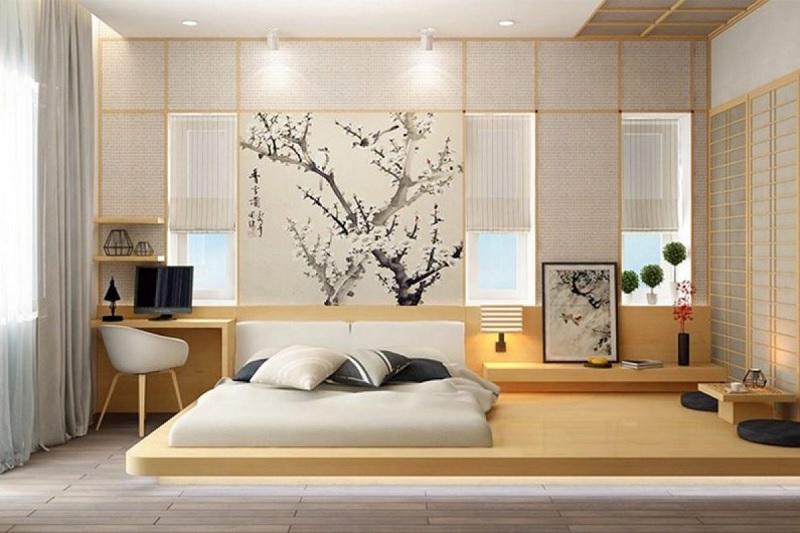 Mẫu phòng ngủ nhẹ nhàng phong cách Nhật bản dành riêng cho các cặp vợ chồng trung niên