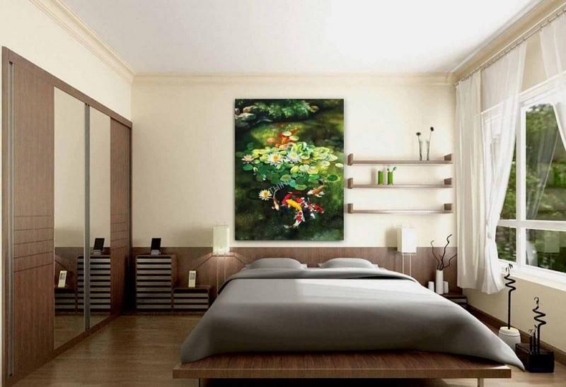 Mẫu phòng ngủ với hình vẽ trang trí dành cho cặp vợ chồng