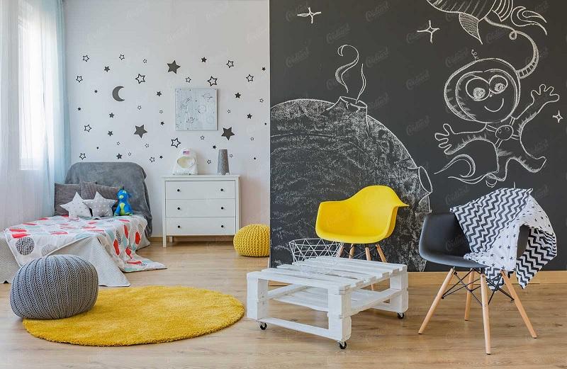 Mẫu phòng ngủ với hình vẽ trang trí dành cho các bé từ 4 tuổi