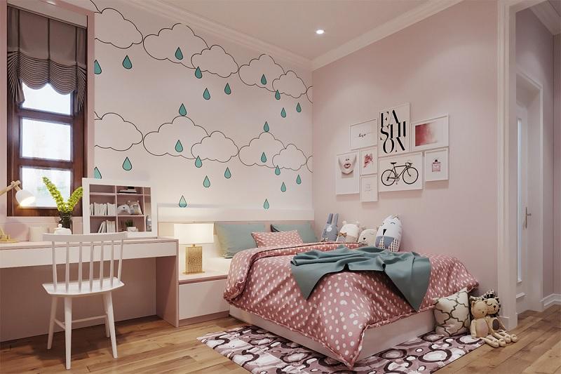 Mẫu phòng ngủ trang trí với các đám mây nhẹ nhàng dành cho các bé gái