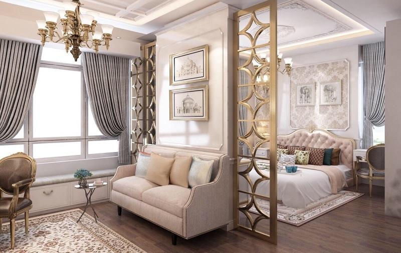Ý tưởng 3: Phòng khách chung cư tân cổ điển mini