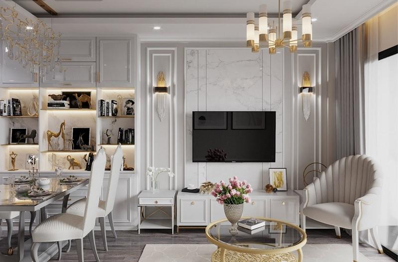 Mẫu thiết kế phòng khách tân cổ điển cho chung cư