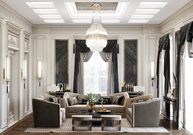 Mẫu thiết kế phòng khách tân cổ điển cho nhà phố
