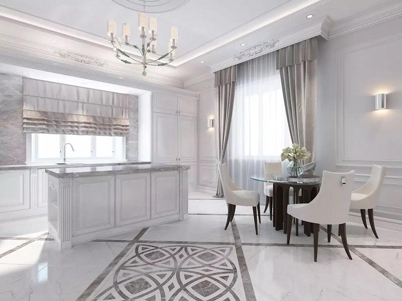 Mẫu phòng bếp với nội thất tân cổ điển