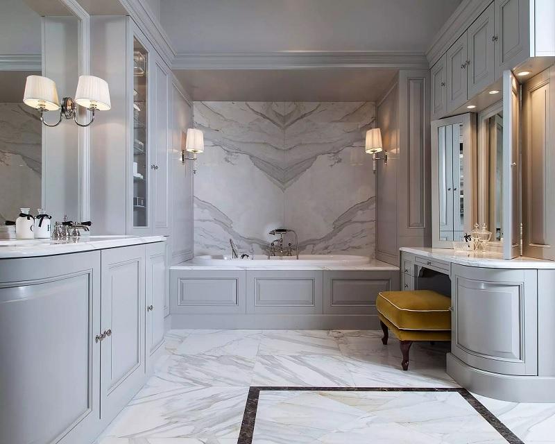 Đối với các phòng có chức năng riêng như phòng ngủ, phòng bếp thì chất liệu đá, gạch men, gạch sứ là phù hợp.