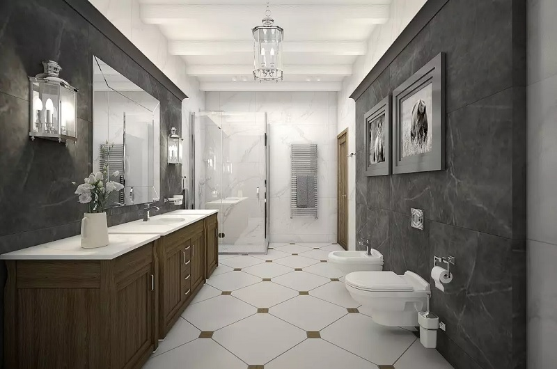 Mẫu phòng tắm với nội thất tân cổ điển