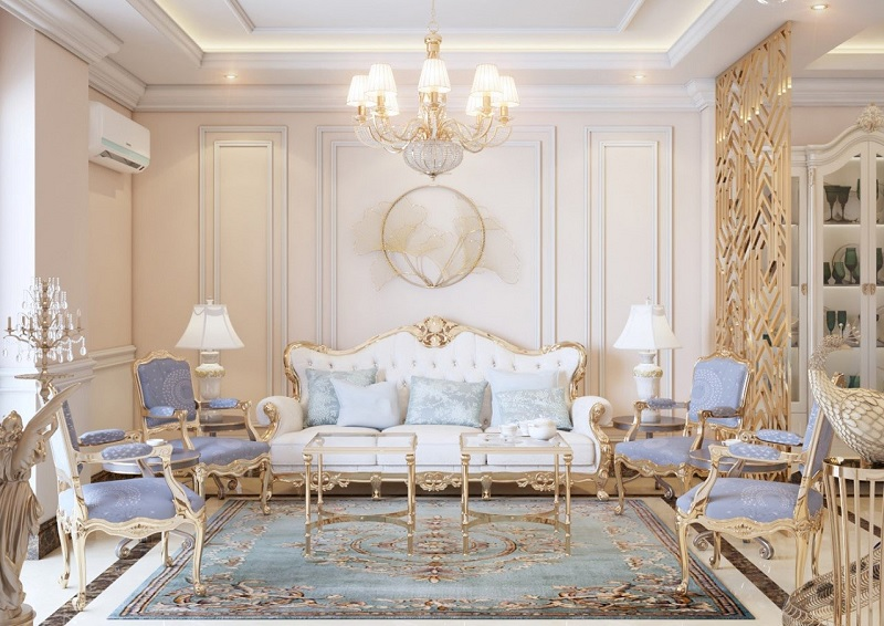 Phong cách nội thất tân cổ điển hiện lên với vẻ đẹp sang trọng và tinh tế.