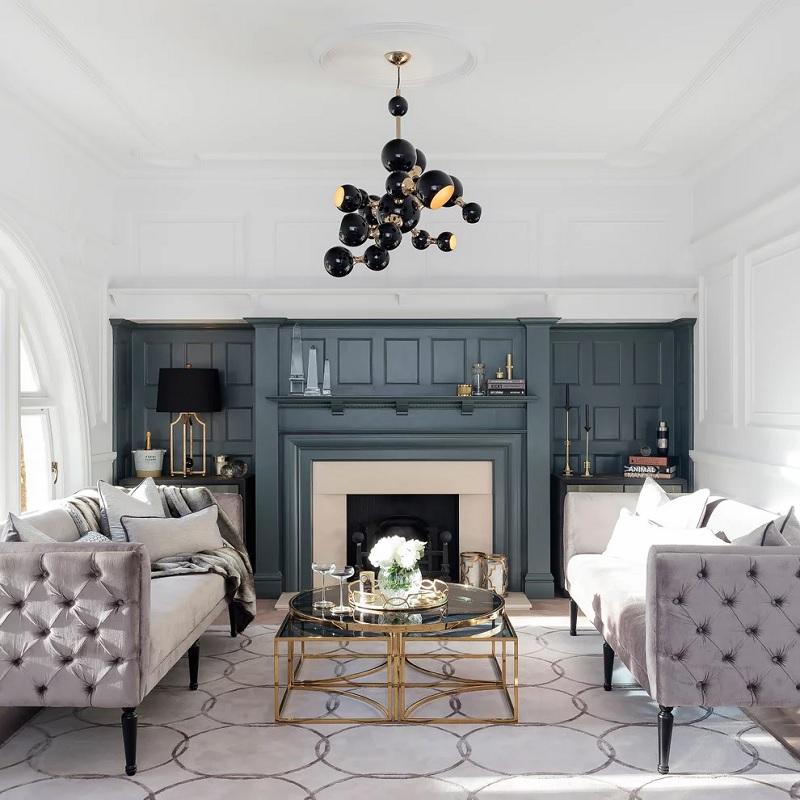 Mẫu phòng khách với nội thất tân cổ điển