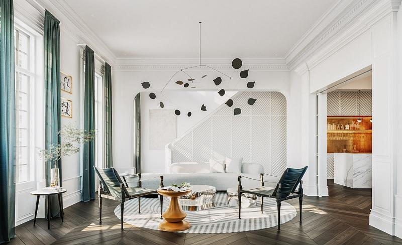 Hoặc nếu như bạn là người ưa thích sự hiện đại hơn thì những tấm thảm đơn giản sẽ đem đến sự hiện đại cho không gian.