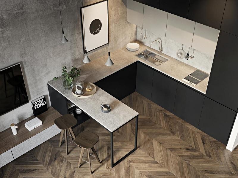 Ý tưởng 8: Mẫu thiết kế nhà bếp với tone đen quyền lực