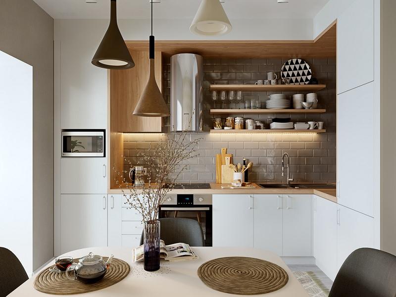 Ý tưởng 7: Mẫu thiết kế nhà bếp nhỏ với phong cách mộc mạc