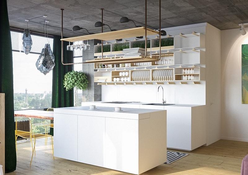Ý tưởng 10: Mẫu thiết kế nhà bếp chung cư sang trọng, khác biệt