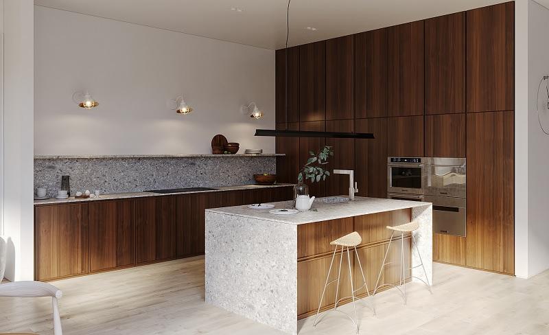 Ý tưởng 4: Mẫu thiết kế phòng bếp nhà cấp 4 tối giản, hiện đại