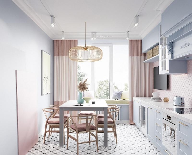 Mẫu thiết kế phòng bếp đẹp và hiện đại trẻ trung, nhẹ nhàng