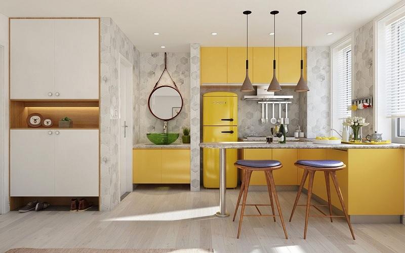 Ý tưởng 6: Mẫu thiết kế nhà bếp nhỏ, đẹp với sắc vàng rực rỡ