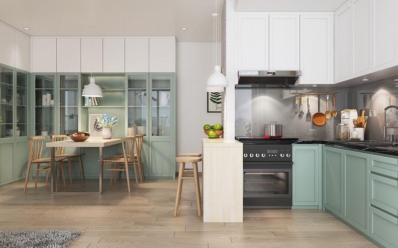 Ý tưởng 11: Mẫu thiết kế nhà bếp và phòng ăn với xanh ngọc bích