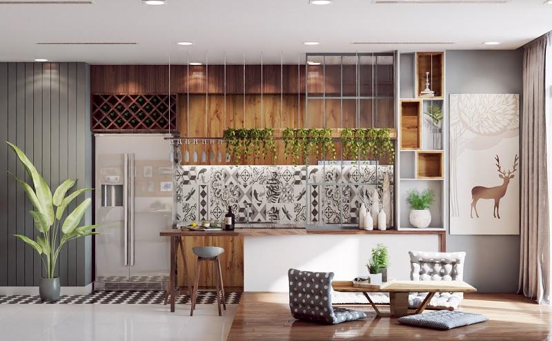 Mẫu thiết kế phòng bếp đẹp và hiện đại mang hơi thở của thiên nhiên