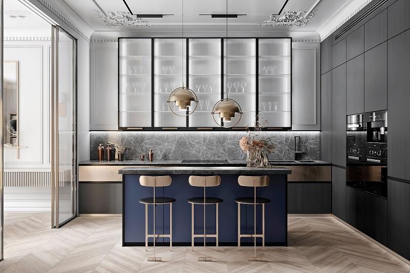 Mẫu thiết kế phòng bếp đẹp và hiện đại cổ điển, sang trọng