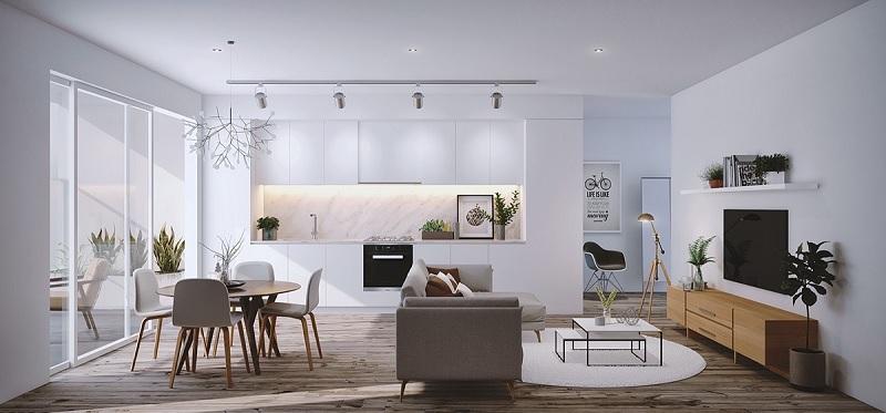 Phòng khách liền bếp 20m2 hiện đại