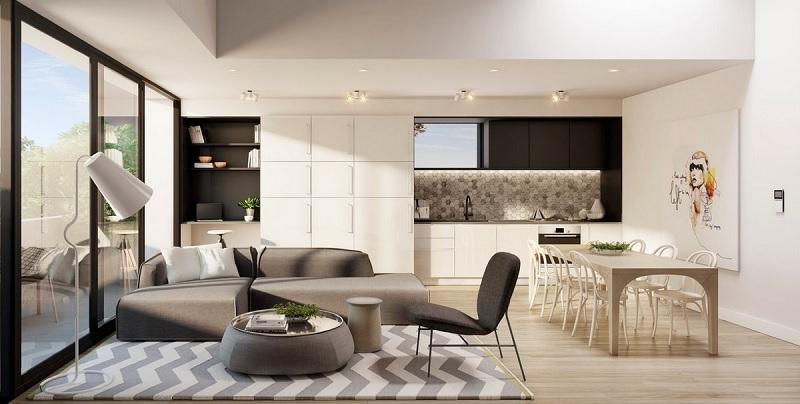Thiết kế phòng khách liền bếp 20m2 phong cách mở