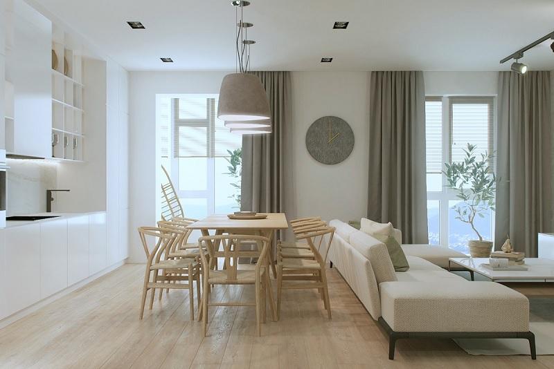 Lối thiết kế nhà bếp và phòng khách chung cư nhỏ này được cách điệu với lối hiện đại và sự tối giản