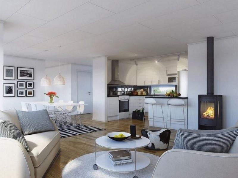 Thiết kế phòng bếp và phòng khách liền ấn tượng, hiện đại