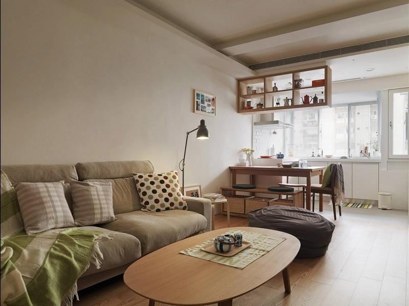 Phòng khách liền bếp 15m2 giản dị, ấm cúng