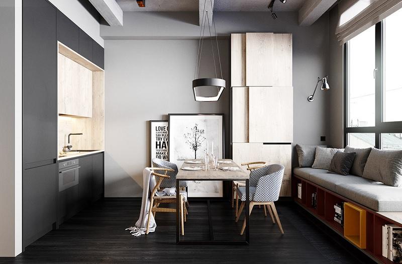 Phòng khách liền bếp 15m2 năng động cho giới trẻ