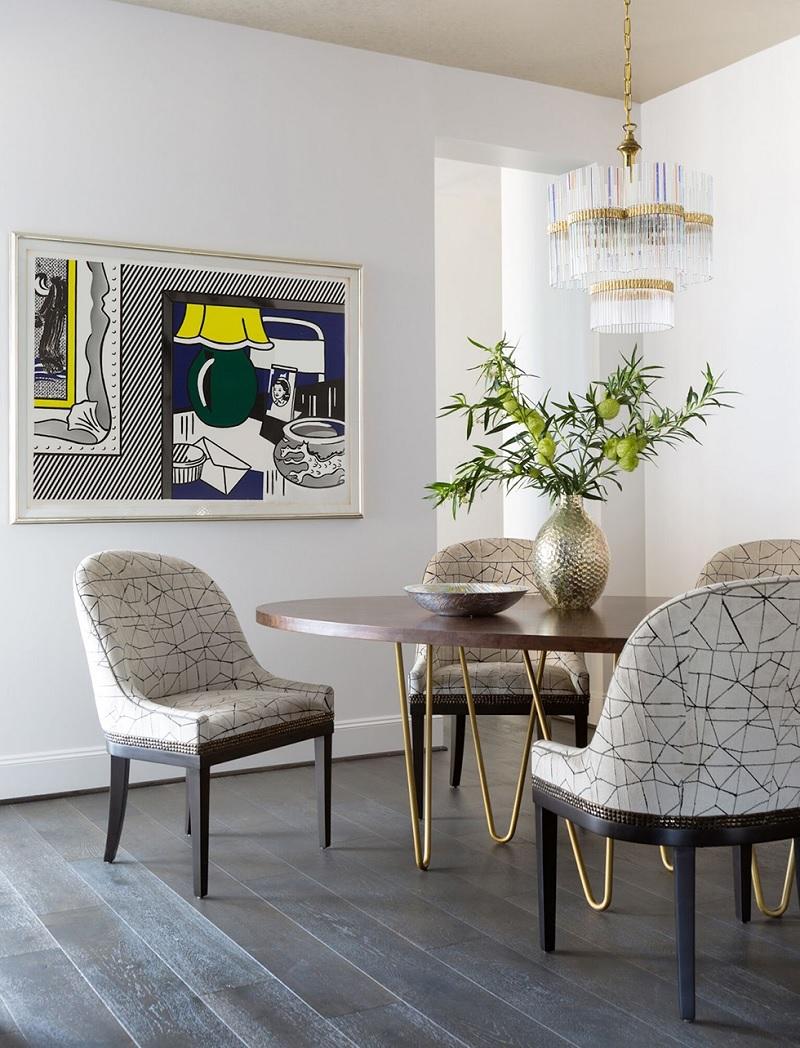 Mẫu bàn tròn chân chữ V nhuốm màu nghệ thuật