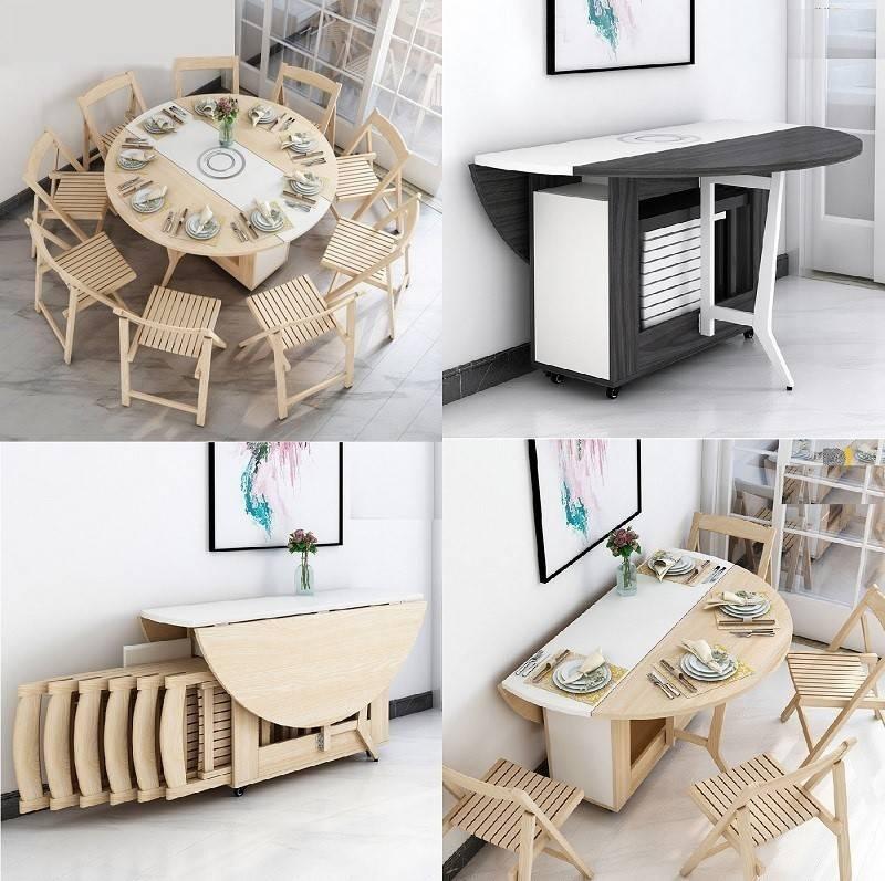 Mẫu bàn ăn thông minh tích hợp ghế tối giản tạo nên không gian tối giản, gọn gàng
