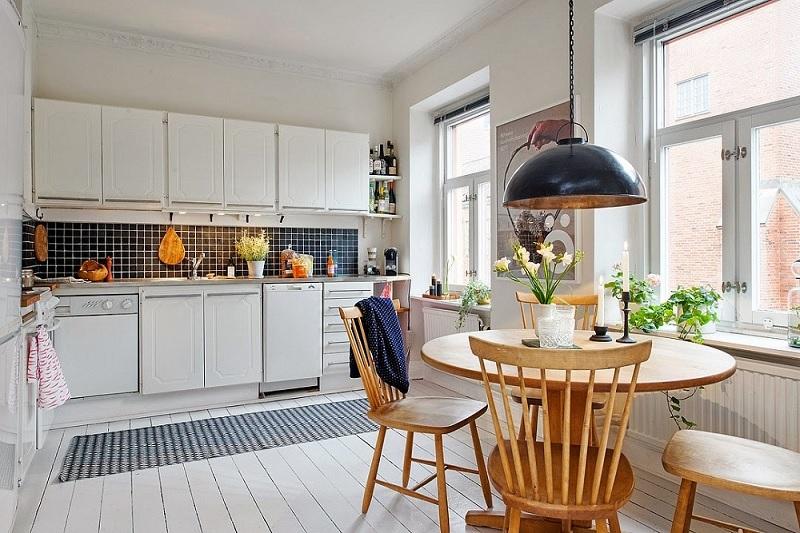 Mẫu thiết kế phòng ăn đẹp với mẫu bàn tròn gỗ gam màu nhẹ cho chung cư