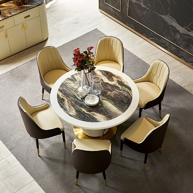 Mẫu bàn tròn kết hợp mâm xoay thông minh cho đại gia đình