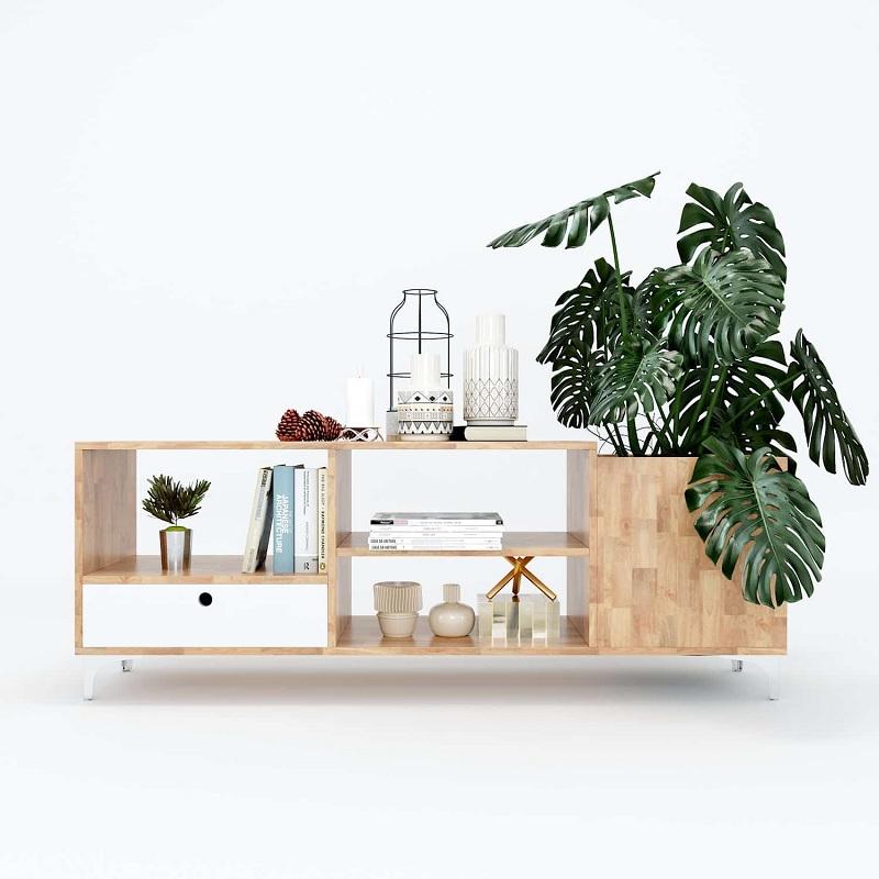 Mẫu kệ tivi phòng khách làm từ cây gỗ cao su